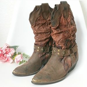 90s Vintage Leather Mid Calf Western Cowboy boots